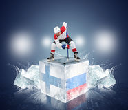 Finland - Russia QuaterFinal game. Face-off player on the ice Stock Image