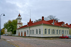 Finland's oldest wooden fire stations in Kotka. Royalty Free Stock Photography