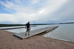 Finland Saaksjarvi lake water reservoir Royalty Free Stock Photos