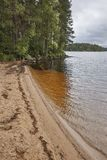 Finland sand beach and forest in Helvetinjarvi national park. Stock Photo