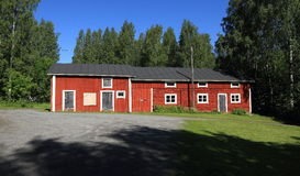 Finland, Savonia/Kuopio: Finnish Architecture - Historic Farm/Barn (1860). The older part of this barn building has a log structure (on right), for the newer Royalty Free Stock Photography