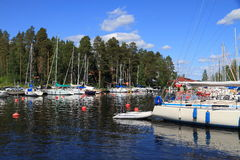 Finland, Savonia/Kuopio - Sailboat Marina. This is the marina of the local Kuopio sailboat club in a bay of Lake Kallavesi, in northern Savonia, eastern Finland stock photography