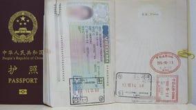 Finland Schengen VISA and China Passport Royalty Free Stock Photos