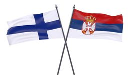 Two crossed flags. Finland and Serbia, two crossed flags isolated on white background. 3d image Royalty Free Stock Photo