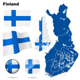 Finland  set. Detailed country shape with region borders, flags and icons isolated on white background Royalty Free Stock Photography