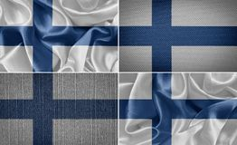 Finland flag. Finland set of cloth flags. flag Stock Photos