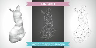 Finland set of grey and silver mosaic 3d polygonal maps. Finland grey graphic vector triangle geometry outline contour shadow perspective maps Stock Photo