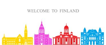 Finland set. Isolated Finland architecture on white background. EPS 10. Vector illustration Royalty Free Stock Photo