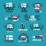 Finland. Set of vector labels. Collection of retro labels of Finland. Vector illustration Stock Images