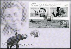 FINLAND - 2014: shower Tove Jansson 1914-2001, finlandssvensk romanförfattare, målare, århundradefödelseårsdag Arkivbild