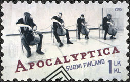 FINLAND - 2015: shows Apocalyptica, series Six internationally successful Finnish rock bands Royalty Free Stock Photo