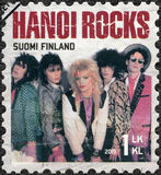 FINLAND - 2015: shows Hanoi Rocks, series Six internationally successful Finnish rock bands Stock Image