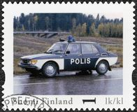 FINLAND - 2013: shows Saab 99 GL, series Finland shows Saab 99 GL, series Finland Official Vintage Police Car Stock Photography