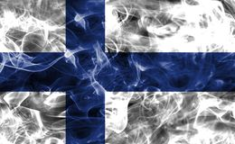 Finland smoke flag. Isolated on a black background Stock Photography