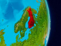 Finland from space. Country of Finland in red on planet Earth. 3D illustration. Elements of this image furnished by NASA Royalty Free Stock Images