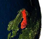 Finland from space during dusk Royalty Free Stock Photo