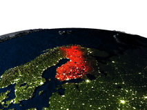 Finland from space at night Royalty Free Stock Images