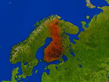Finland from space in red. Top-down view of Finland hightlighted in red as seen from Earth's orbit in space. 3D illustration with highly detailed realistic Stock Photo