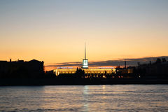 Finland Station And Neva River Before Sunset Stock Photography