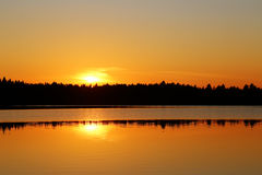 Finland: Sunset by a lake Royalty Free Stock Photos