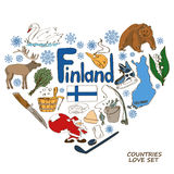 Finland symbols in heart shape concept. Colorful sketch collection of Finland symbols. Heart shape concept. Travel background Stock Photo