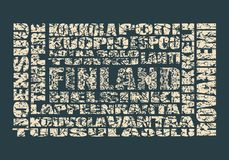 Finland tags cloud Royalty Free Stock Photos