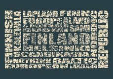 Finland tags cloud. Finland theme relative words cloud. Multi color tags on blue background. Grunge cracked texture Royalty Free Stock Photography