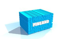 Finland tags cloud. Finland theme relative words cloud. White and blue letters Royalty Free Stock Image