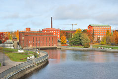 Finland. Tampere in autumn. Tampere, Finland. Beautiful river  Tammerkoski quay in autumn Royalty Free Stock Photos
