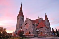Finland.Tampere kathedraal bij zonsondergang stock afbeeldingen