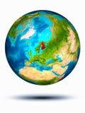 Finland ter wereld met witte achtergrond Stock Afbeeldingen