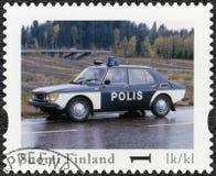 FINLAND - 2013: toont Saab 99 GL, toont de reeks Finland Saab 99 GL, de Officiële Uitstekende Politiewagen van reeksfinland Stock Fotografie