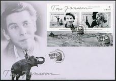 FINLAND - 2014: toont Tove Jansson 1914-2001, finse romanschrijver, schilder, de verjaardag van de eeuwgeboorte Stock Fotografie