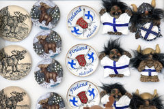 Finland touristic gifts, magnets. Finland touristic magnets in gift shop in the Helsinki centric Market square Stock Photo