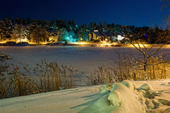 Finland town on frost gulf. Finland town Naantali on frost gulf Royalty Free Stock Photo