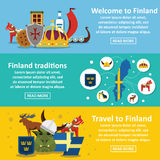 Finland travel banner horizontal set, flat style Stock Photography
