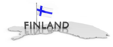 Finland Tribute. 3D rendered map of country with flag and logo Royalty Free Stock Photography