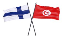 Two crossed flags. Finland and Tunisia, two crossed flags isolated on white background. 3d image Stock Image
