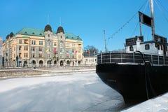 finland Turku Bulwar rzeczna aura na zimie zdjęcie stock