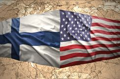 Finland and United States of America. Waving Finnish and American flags of the political map of the world Stock Photos