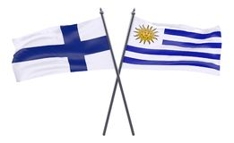 Two crossed flags. Finland and Uruguay, two crossed flags isolated on white background. 3d image Royalty Free Stock Photo