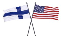Two crossed flags. Finland and USA, two crossed flags isolated on white background. 3d image Stock Images