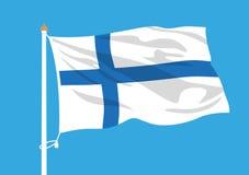 Finland flag waving. Finland vector national  flag waving Stock Photography