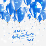Finland Vector Patriotic Poster. Independence Day. Finland Vector Patriotic Poster. Independence Day Placard with Bright Colorful Balloons of Country National Stock Photos
