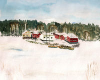 Finland village watercolor Stock Photos