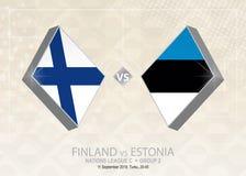Finland vs Estland, liga C, grupp 2 Europa fotbollcompetiti Vektor Illustrationer