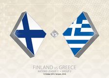 Finland vs Grekland, liga C, grupp 2 Europa fotbollcompetitio Vektor Illustrationer
