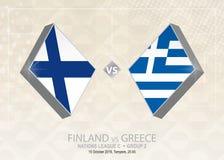 Finland vs Grekland, liga C, grupp 2 Europa fotbollcompetitio Vektor Illustrationer