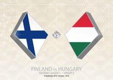 Finland vs Ungern, liga C, grupp 2 Europa fotbollcompetiti Vektor Illustrationer