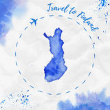 Finland watercolor map in blue colors. Travel to Finland poster with airplane trace and handpainted watercolor Finland map on crumpled paper. Vector Royalty Free Stock Photos